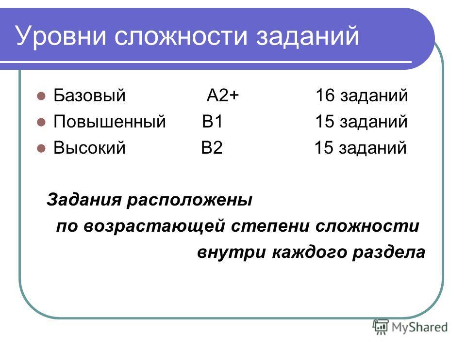 Уровни сложности заданий Базовый А2+ 16 заданий Повышенный В1 15 заданий Высокий В2 15 заданий Задания расположены по возрастающей степени сложности внутри каждого раздела