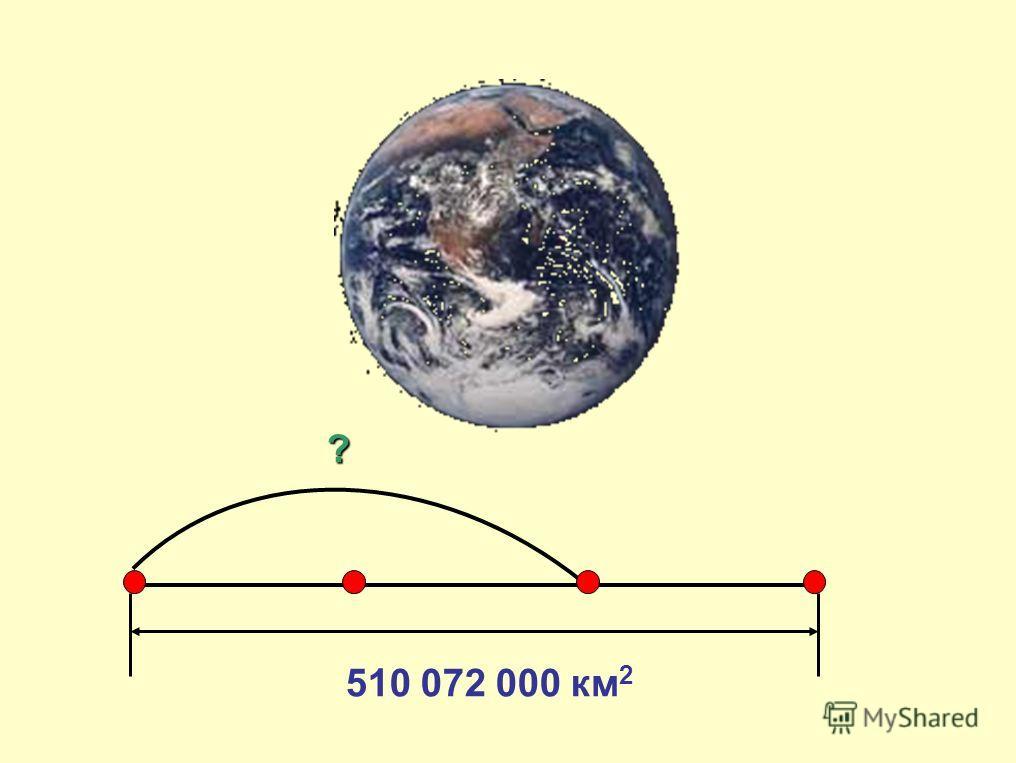 Площадь поверхности Земли 510 072 000 км2. Вода занимает 2/3 вашей планеты. Узнайте площадь водной поверхности.