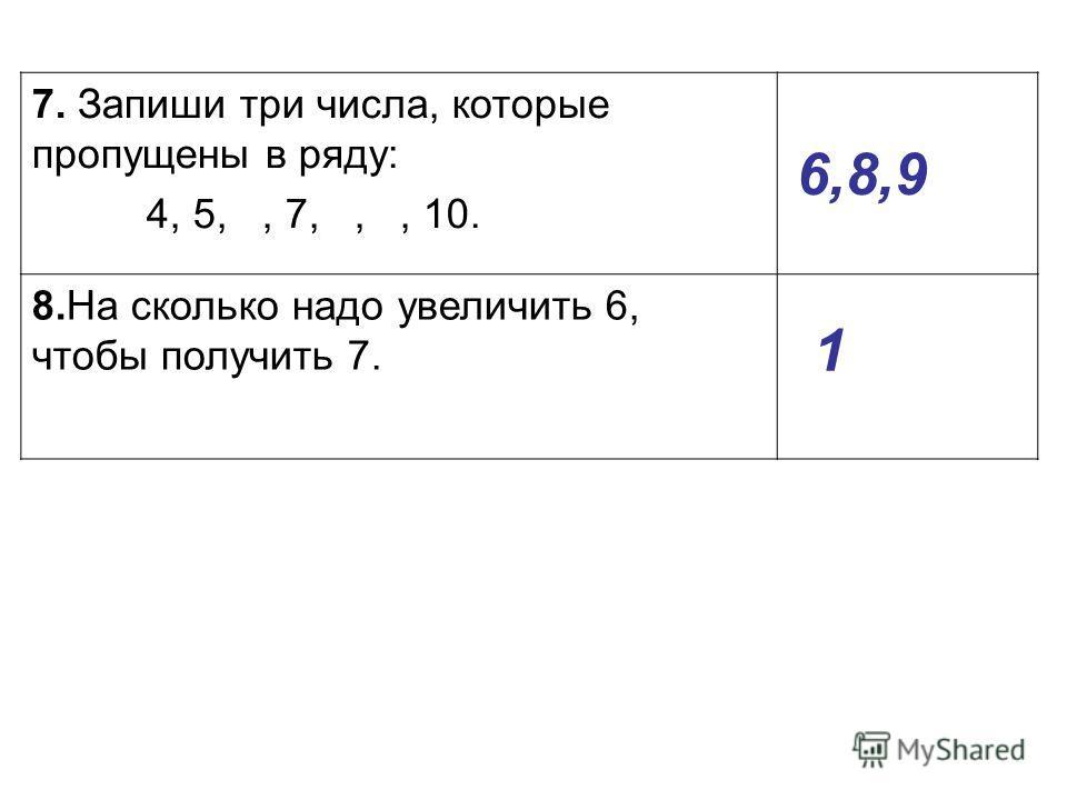 7. Запиши три числа, которые пропущены в ряду: 4, 5,, 7,,, 10. 8.На сколько надо увеличить 6, чтобы получить 7. 6,8,9 1