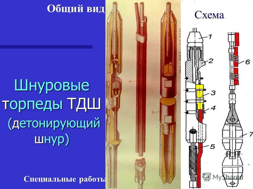 Специальные работы в скважинах Шнуровые торпеды ТДШ (детонирующий шнур) Схема Общий вид