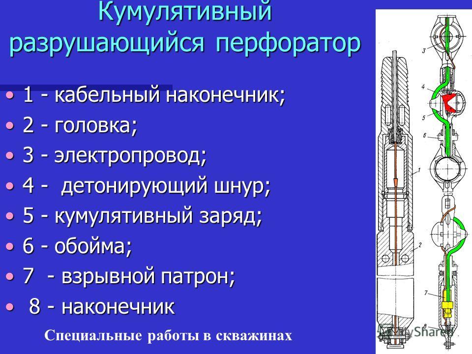 Специальные работы в скважинах Кумулятивный разрушающийся перфоратор 1 - кабельный наконечник;1 - кабельный наконечник; 2 - головка;2 - головка; 3 - электропровод;3 - электропровод; 4 - детонирующий шнур;4 - детонирующий шнур; 5 - кумулятивный заряд;