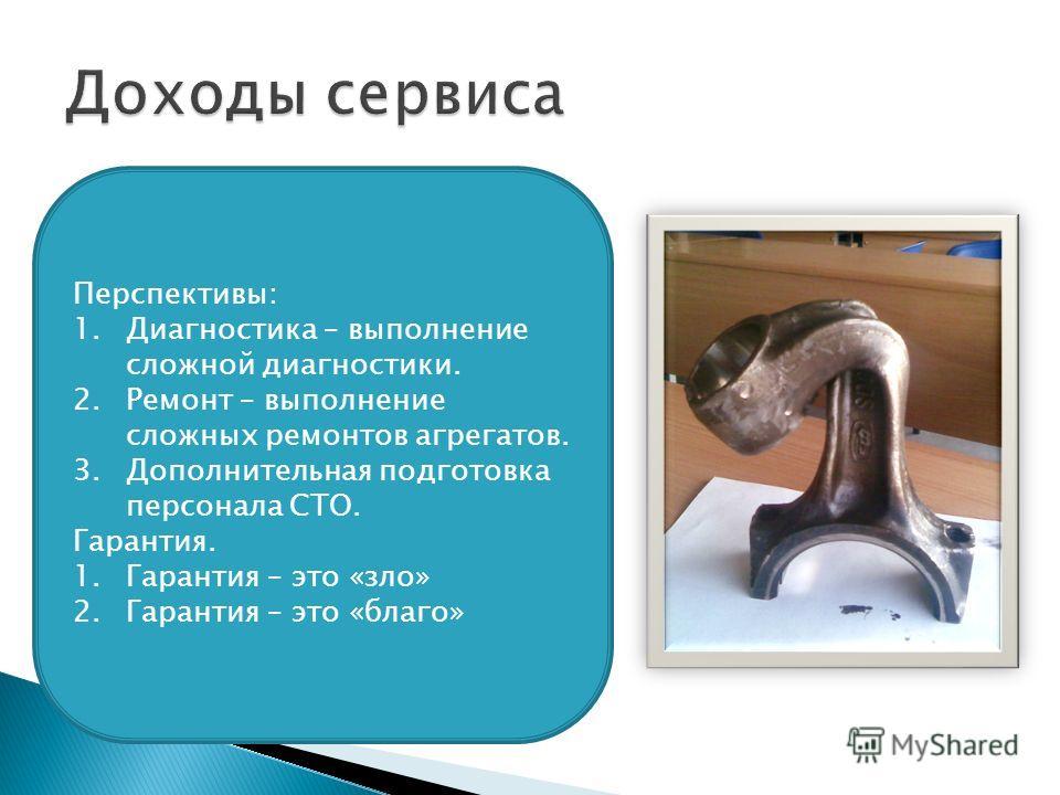 Перспективы: 1.Диагностика – выполнение сложной диагностики. 2.Ремонт – выполнение сложных ремонтов агрегатов. 3.Дополнительная подготовка персонала СТО. Гарантия. 1.Гарантия – это «зло» 2.Гарантия – это «благо»