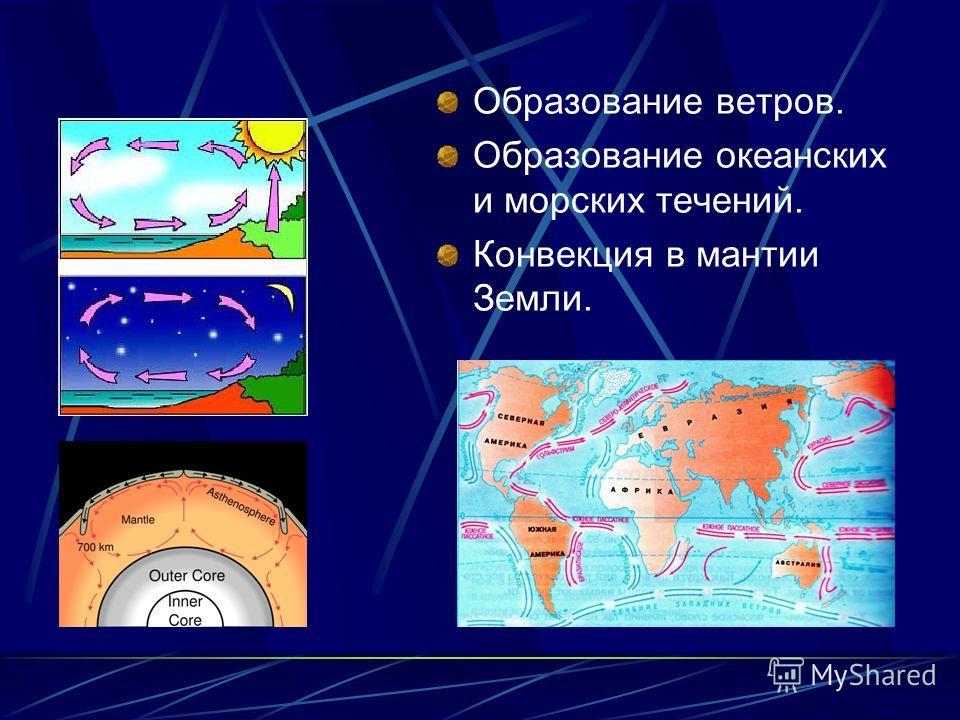 Образование ветров. Образование океанских и морских течений. Конвекция в мантии Земли.