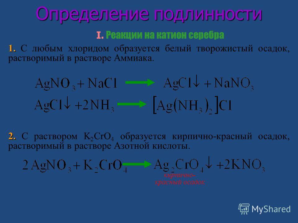 Определение подлинности I. Реакции на катион серебра 1. 1. С любым хлоридом образуется белый творожистый осадок, растворимый в растворе Аммиака. 2. 2. С раствором K 2 CrO 4 образуется кирпично-красный осадок, растворимый в растворе Азотной кислоты. к