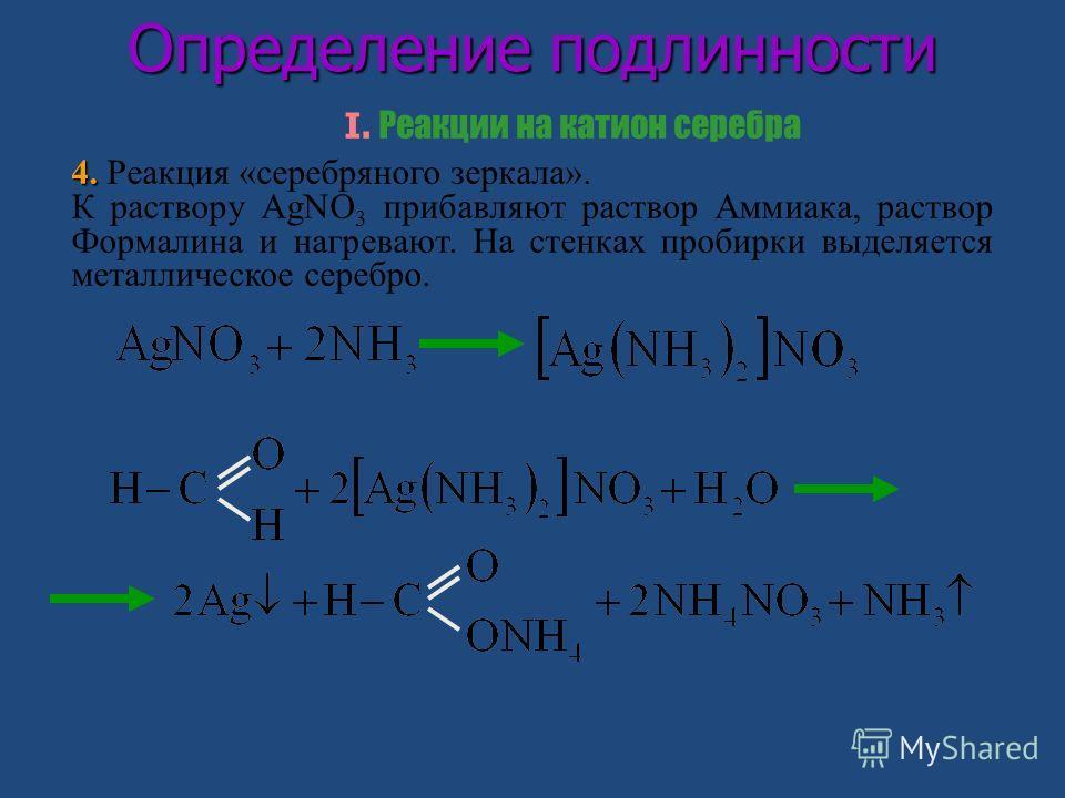 Определение подлинности I. Реакции на катион серебра 4. 4. Реакция «серебряного зеркала». К раствору AgNO 3 прибавляют раствор Аммиака, раствор Формалина и нагревают. На стенках пробирки выделяется металлическое серебро.