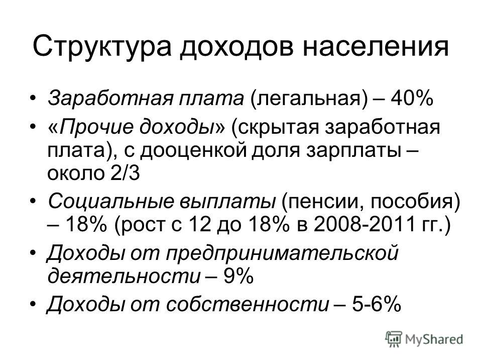 Структура доходов населения Заработная плата (легальная) – 40% «Прочие доходы» (скрытая заработная плата), с дооценкой доля зарплаты – около 2/3 Социальные выплаты (пенсии, пособия) – 18% (рост с 12 до 18% в 2008-2011 гг.) Доходы от предпринимательск