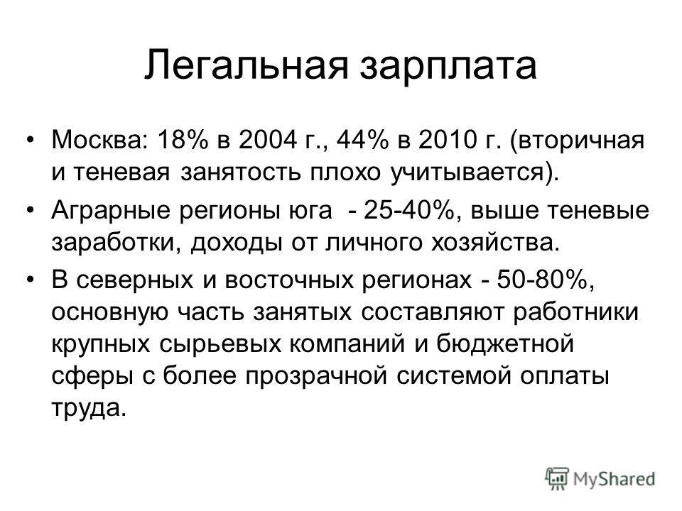 Легальная зарплата Москва: 18% в 2004 г., 44% в 2010 г. (вторичная и теневая занятость плохо учитывается). Аграрные регионы юга - 25-40%, выше теневые заработки, доходы от личного хозяйства. В северных и восточных регионах - 50-80%, основную часть за