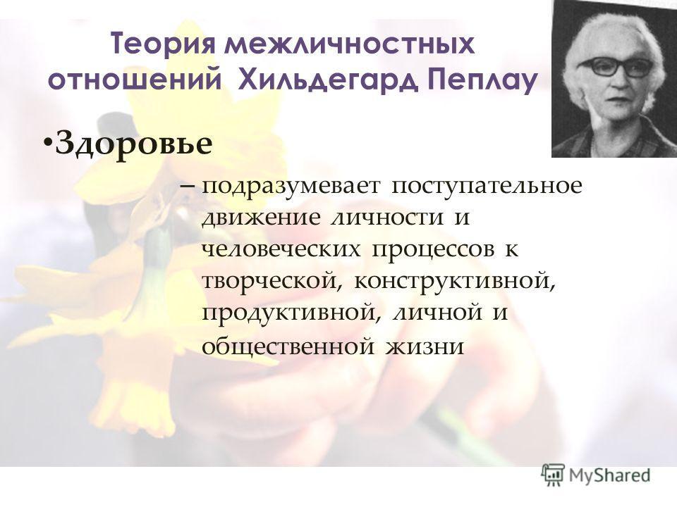 Теория межличностных отношений Хильдегард Пеплау Здоровье – подразумевает поступательное движение личности и человеческих процессов к творческой, конструктивной, продуктивной, личной и общественной жизни