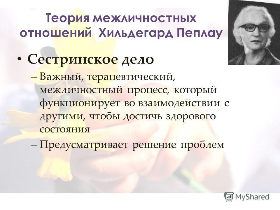 Теория межличностных отношений Хильдегард Пеплау Сестринское дело – Важный, терапевтический, межличностный процесс, который функционирует во взаимодействии с другими, чтобы достичь здорового состояния – Предусматривает решение проблем