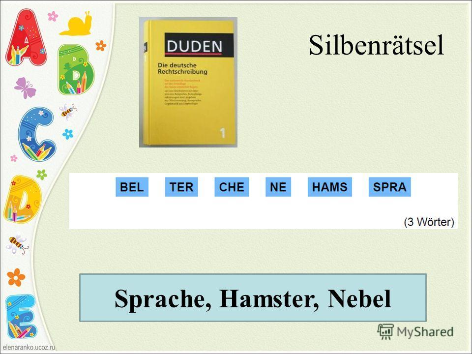 Silbenrätsel Sprache, Hamster, Nebel