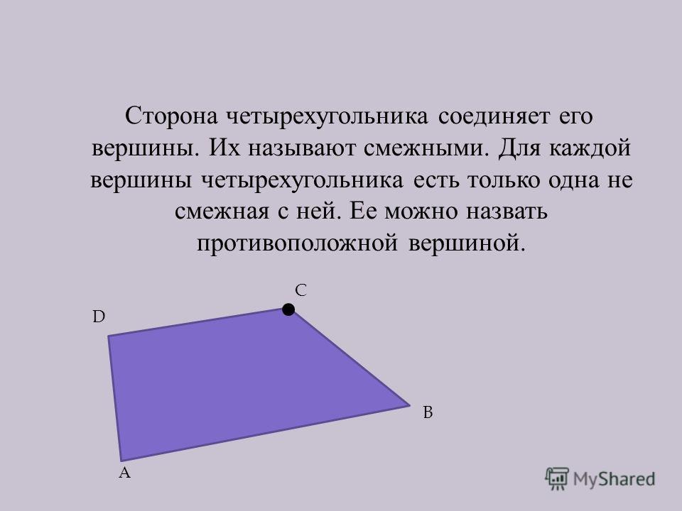 Сторона четырехугольника соединяет его вершины. Их называют смежными. Для каждой вершины четырехугольника есть только одна не смежная с ней. Ее можно назвать противоположной вершиной. А B C D