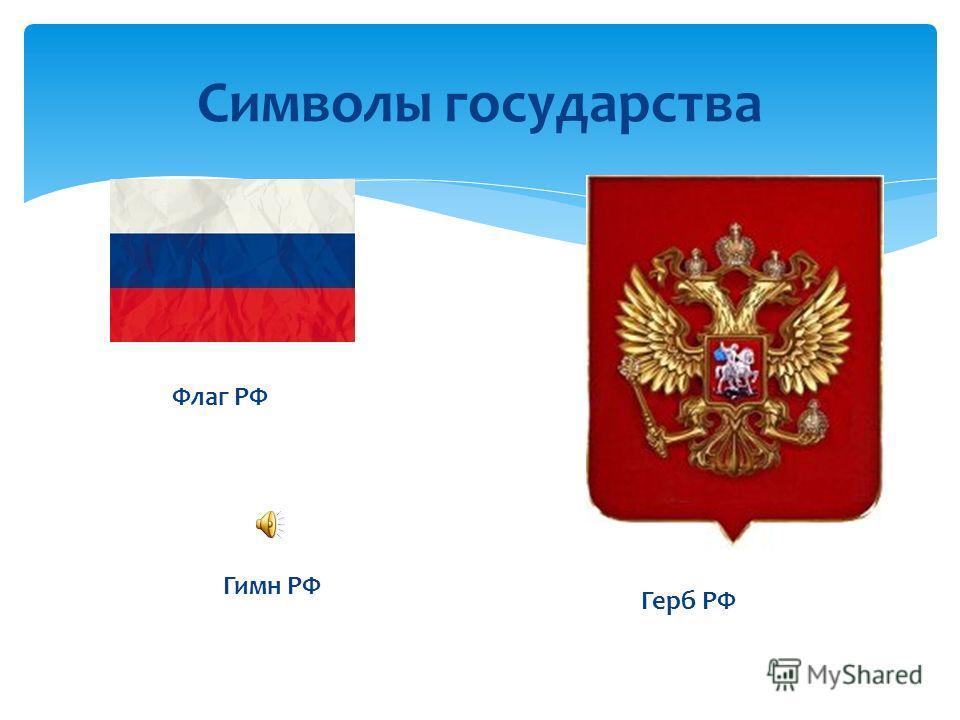 Символы государства Флаг РФ Герб РФ Гимн РФ