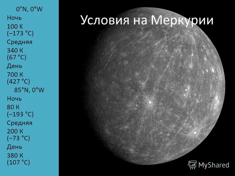 Условия на Меркурии 0°N, 0°W Ночь 100 K (173 °C) Средняя 340 К (67 °C) День 700 К (427 °C) 85°N, 0°W Ночь 80 К (193 °C) Средняя 200 К (73 °C) День 380 К (107 °C)
