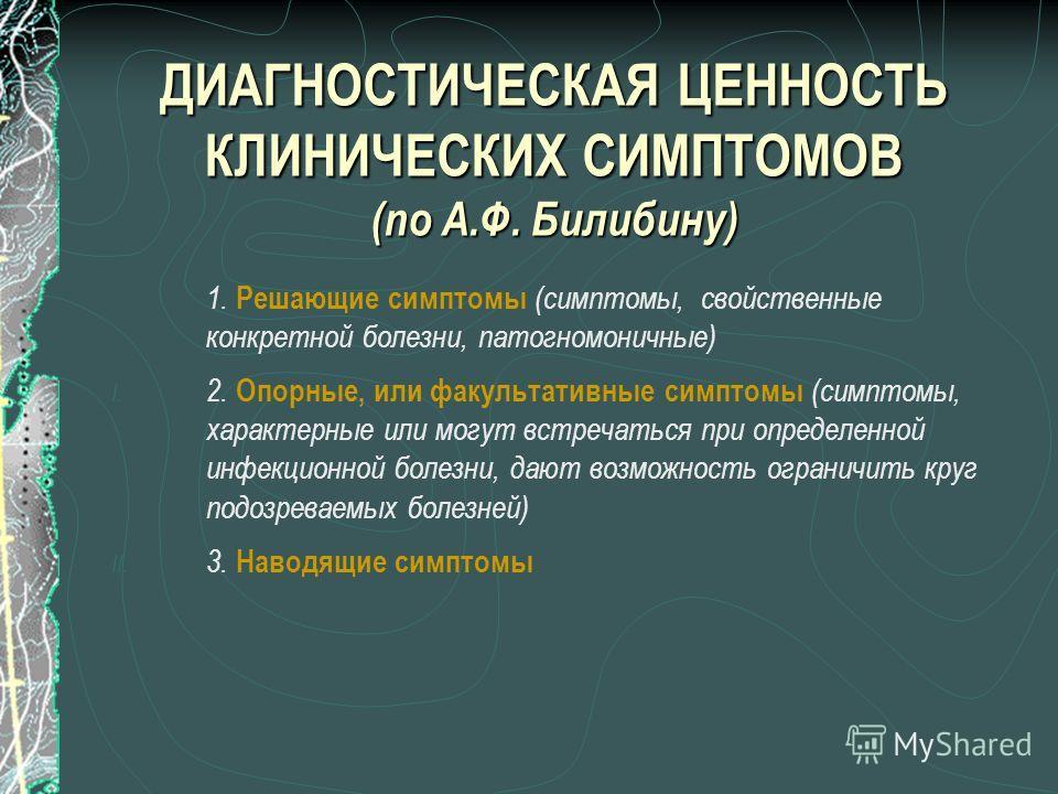 ДИАГНОСТИЧЕСКАЯ ЦЕННОСТЬ КЛИНИЧЕСКИХ СИМПТОМОВ (по А.Ф. Билибину) 1. Решающие симптомы (симптомы, свойственные конкретной болезни, патогномоничные) I. 2. Опорные, или факультативные симптомы (симптомы, характерные или могут встречаться при определенн