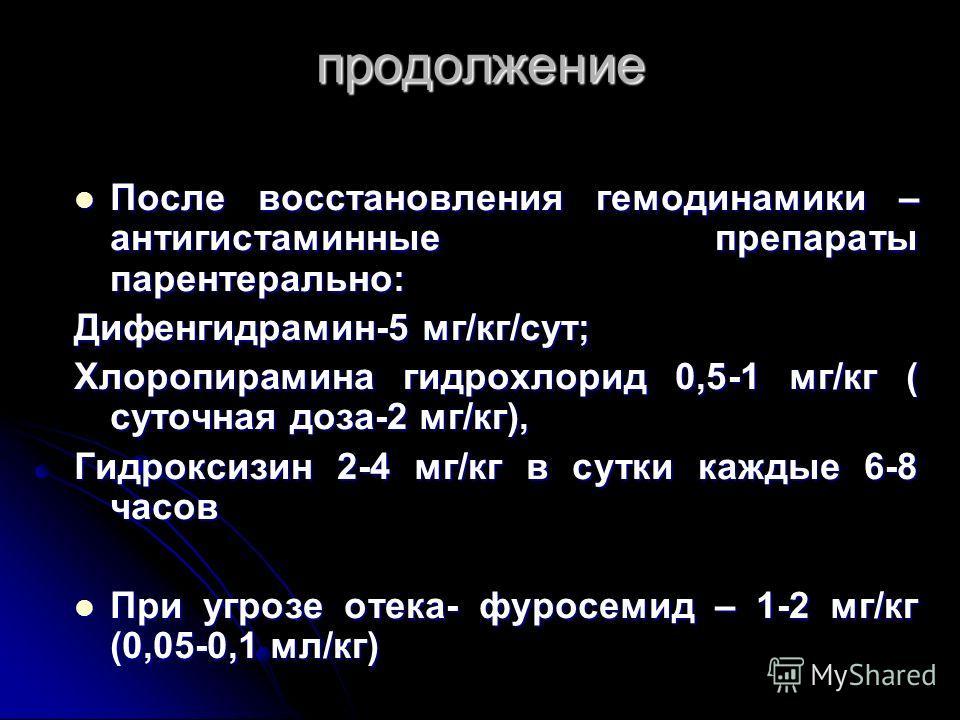 продолжение После восстановления гемодинамики – антигистаминные препараты парентерально: После восстановления гемодинамики – антигистаминные препараты парентерально: Дифенгидрамин-5 мг/кг/сут; Хлоропирамина гидрохлорид 0,5-1 мг/кг ( суточная доза-2 м
