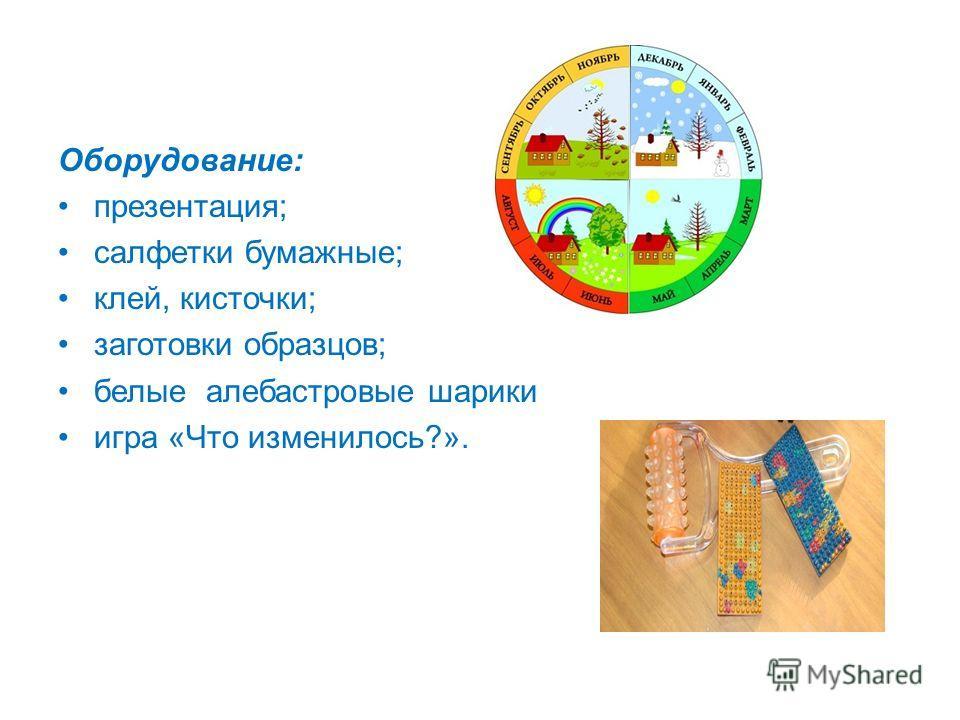 Оборудование: презентация; салфетки бумажные; клей, кисточки; заготовки образцов; белые алебастровые шарики игра «Что изменилось?».