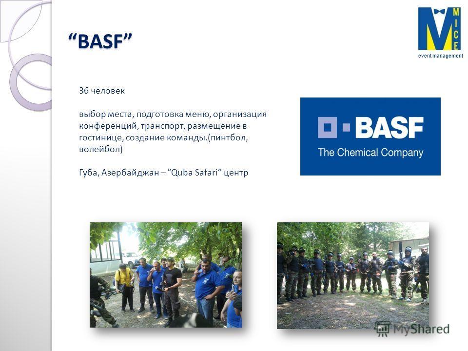 BASF BASF 36 человек выбор места, подготовка меню, организация конференций, транспорт, размещение в гостинице, создание команды.(пинтбол, волейбол) Губа, Азербайджан – Quba Safari центр event management