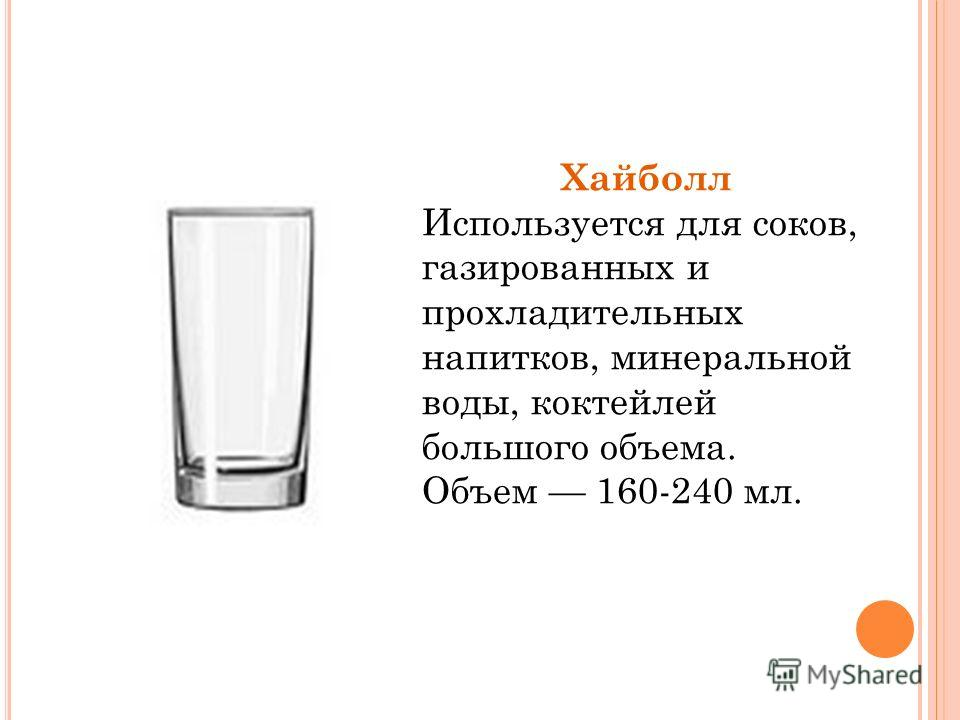 Хайболл Используется для соков, газированных и прохладительных напитков, минеральной воды, коктейлей большого объема. Объем 160-240 мл.