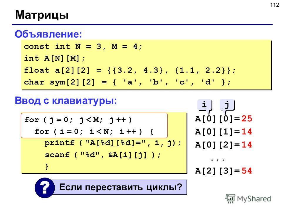 112 Матрицы Объявление: const int N = 3, M = 4; int A[N][M]; float a[2][2] = {{3.2, 4.3}, {1.1, 2.2}}; char sym[2][2] = { 'a', 'b', 'c', 'd' }; const int N = 3, M = 4; int A[N][M]; float a[2][2] = {{3.2, 4.3}, {1.1, 2.2}}; char sym[2][2] = { 'a', 'b'