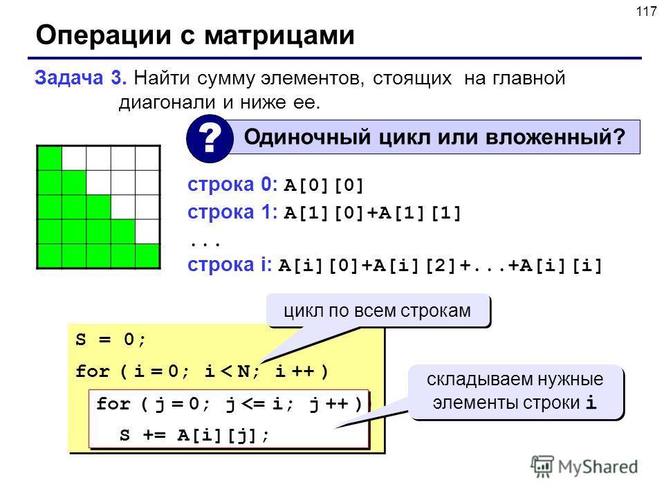 117 Операции с матрицами Задача 3. Найти сумму элементов, стоящих на главной диагонали и ниже ее. Одиночный цикл или вложенный? ? строка 0: A[0][0] строка 1: A[1][0]+A[1][1]... строка i: A[i][0]+A[i][2]+...+A[i][i] S = 0; for ( i = 0; i < N; i ++ ) f