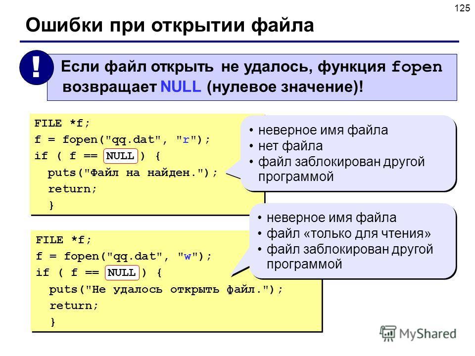 125 Ошибки при открытии файла FILE *f; f = fopen(