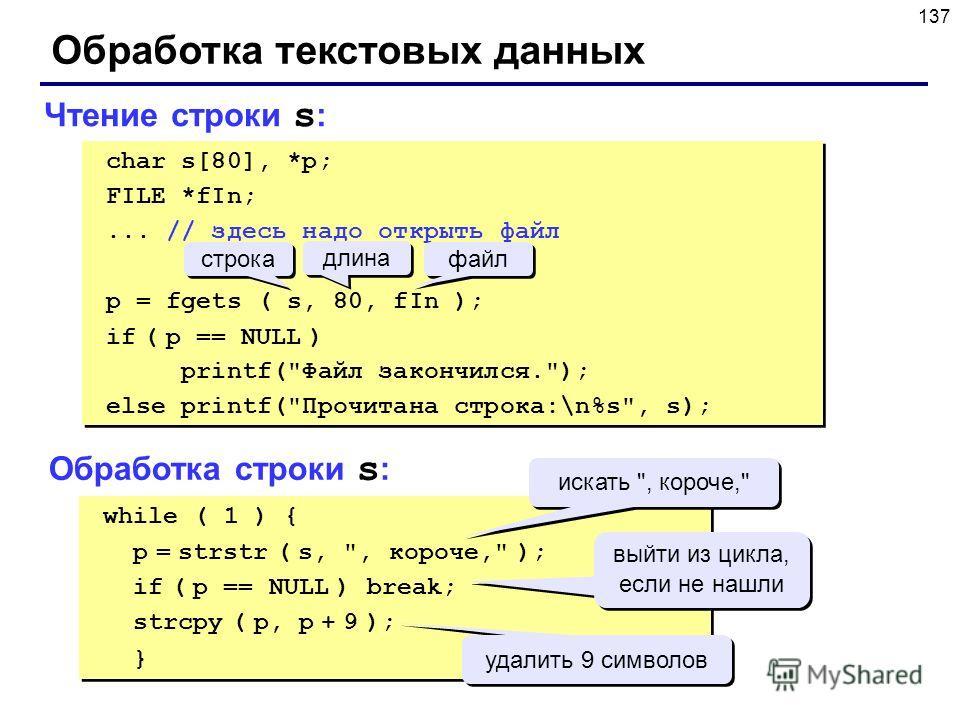 137 Обработка текстовых данных Чтение строки s : while ( 1 ) { p = strstr ( s,