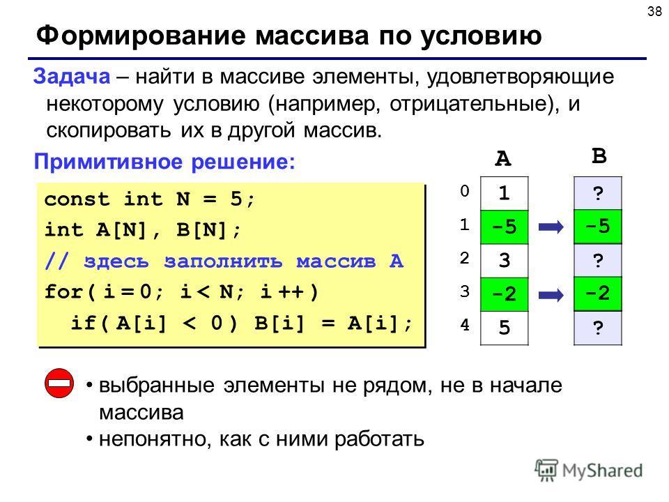 38 Формирование массива по условию Задача – найти в массиве элементы, удовлетворяющие некоторому условию (например, отрицательные), и скопировать их в другой массив. Примитивное решение: const int N = 5; int A[N], B[N]; // здесь заполнить массив A fo