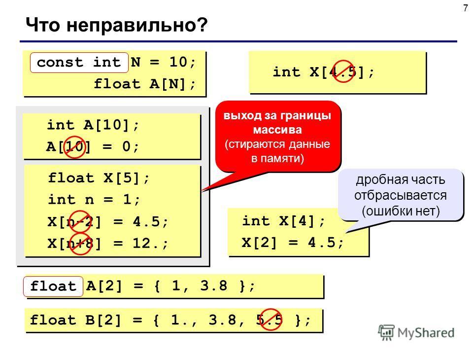 7 Что неправильно? int N = 10; float A[N]; int N = 10; float A[N]; const int int X[4.5]; int A[10]; A[10] = 0; int A[10]; A[10] = 0; float X[5]; int n = 1; X[n-2] = 4.5; X[n+8] = 12.; float X[5]; int n = 1; X[n-2] = 4.5; X[n+8] = 12.; выход за границ