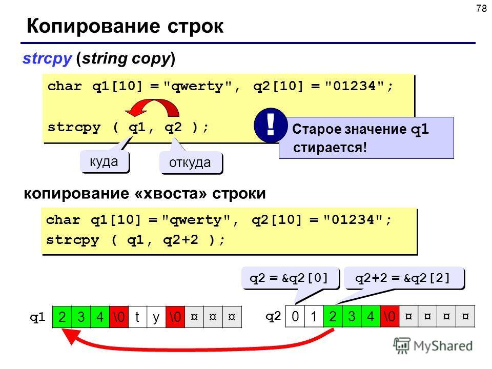 78 Копирование строк strcpy (string copy) char q1[10] =