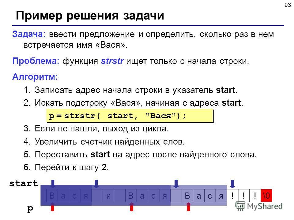 93 Пример решения задачи Задача: ввести предложение и определить, сколько раз в нем встречается имя «Вася». Проблема: функция strstr ищет только с начала строки. Алгоритм: 1.Записать адрес начала строки в указатель start. 2.Искать подстроку «Вася», н
