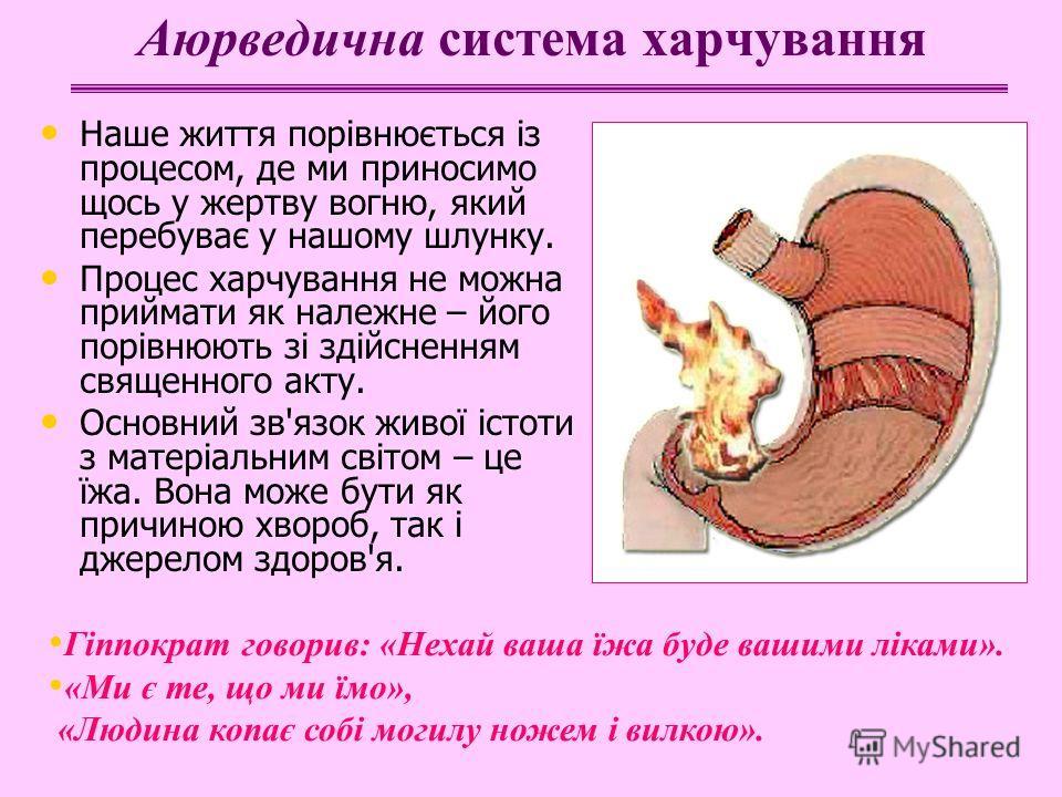 Аюрведична система харчування Наше життя порівнюється із процесом, де ми приносимо щось у жертву вогню, який перебуває у нашому шлунку. Процес харчування не можна приймати як належне – його порівнюють зі здійсненням священного акту. Основний зв'язок