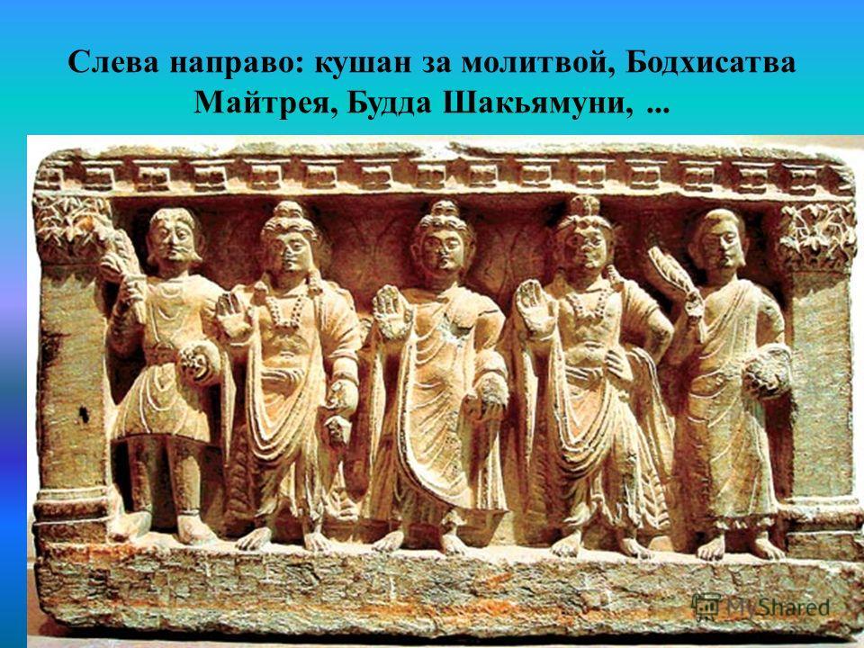 Слева направо: кушан за молитвой, Бодхисатва Майтрея, Будда Шакьямуни,...