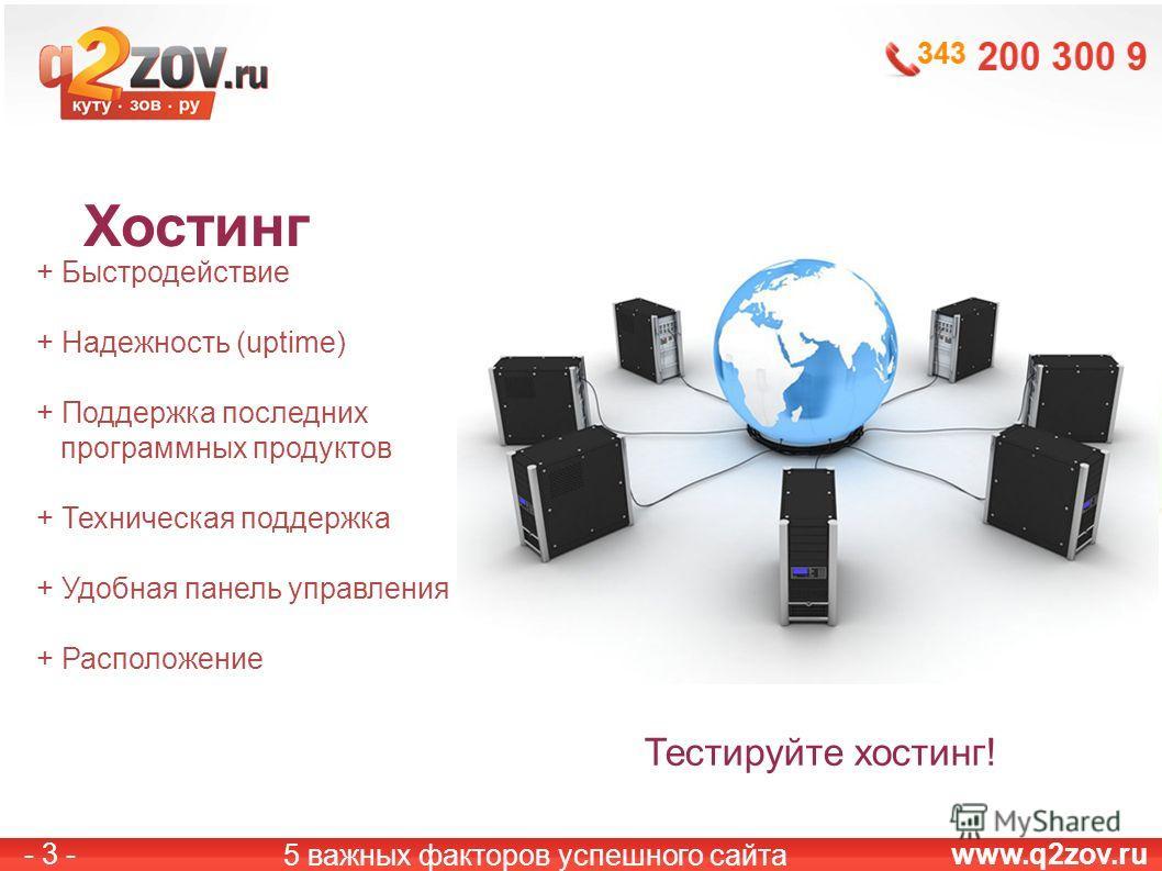 www.q2zov.ru- 3 - Хостинг 5 важных факторов успешного сайта + Быстродействие + Надежность (uptime) + Поддержка последних программных продуктов + Техническая поддержка + Удобная панель управления + Расположение Тестируйте хостинг!