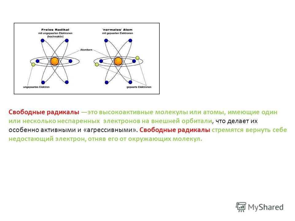 Свободные радикалы это высокоактивные молекулы или атомы, имеющие один или несколько неспаренных электронов на внешней орбитали, что делает их особенно активными и «агрессивными». Свободные радикалы стремятся вернуть себе недостающий электрон, отняв