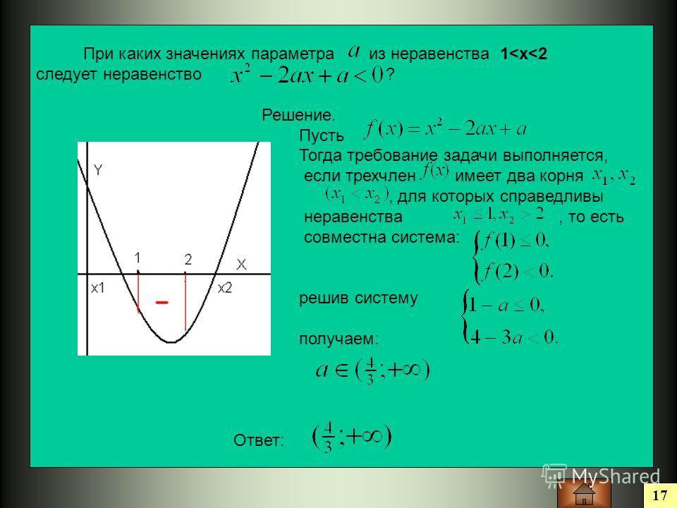 17 При каких значениях параметра из неравенства 1