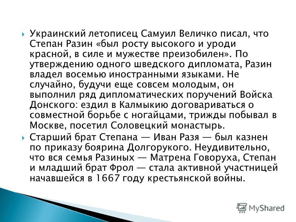 Украинский летописец Самуил Величко писал, что Степан Разин «был росту высокого и уроди красной, в силе и мужестве преизобилен». По утверждению одного шведского дипломата, Разин владел восемью иностранными языками. Не случайно, будучи еще совсем моло