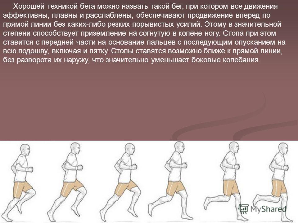 Хорошей техникой бега можно назвать такой бег, при котором все движения эффективны, плавны и расслаблены, обеспечивают продвижение вперед по прямой линии без каких-либо резких порывистых усилий. Этому в значительной степени способствует приземление н