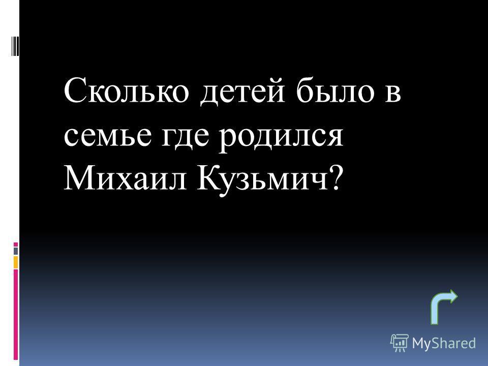 Сколько детей было в семье где родился Михаил Кузьмич?