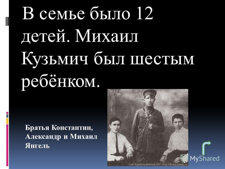 В семье было 12 детей. Михаил Кузьмич был шестым ребёнком. Братья Константин, Александр и Михаил Янгель