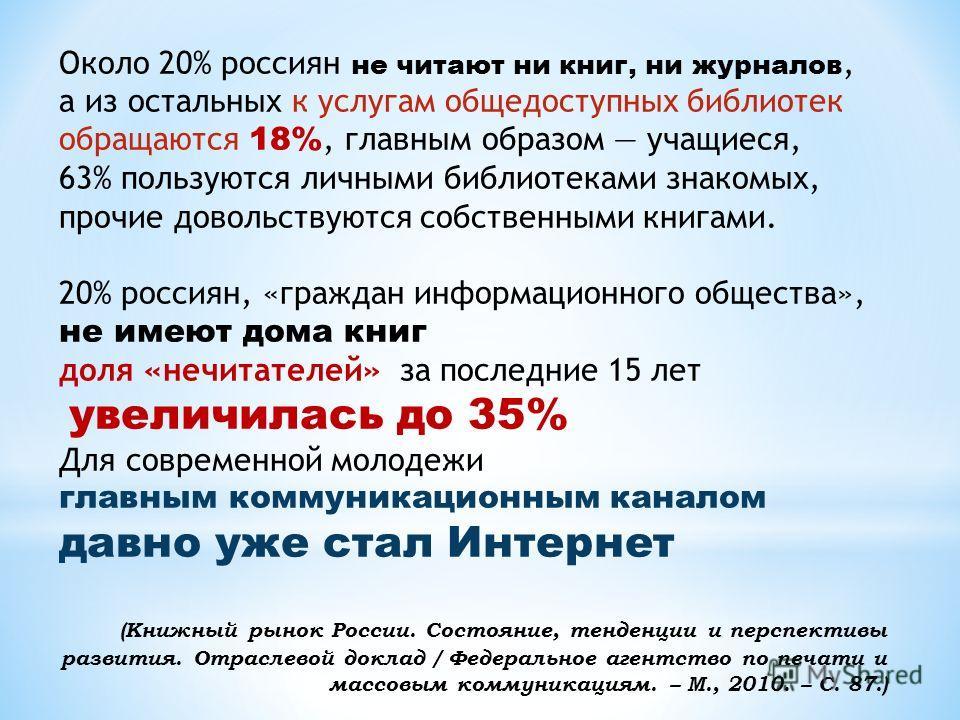 Около 20% россиян не читают ни книг, ни журналов, а из остальных к услугам общедоступных библиотек обращаются 18%, главным образом учащиеся, 63% пользуются личными библиотеками знакомых, прочие довольствуются собственными книгами. 20% россиян, «гражд