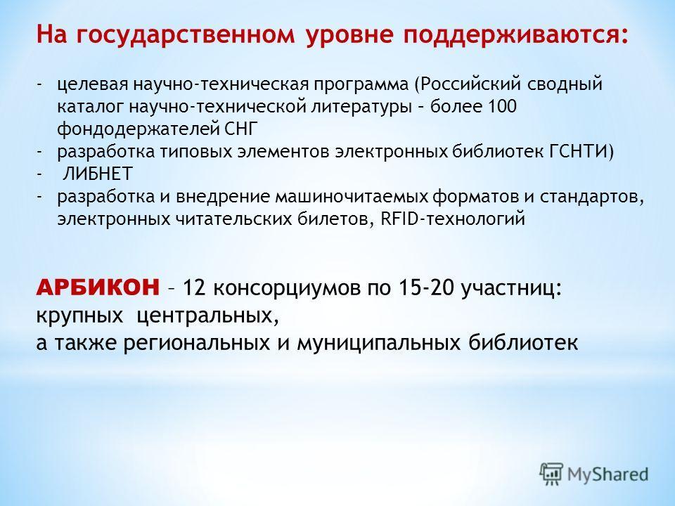 На государственном уровне поддерживаются: -целевая научно-техническая программа (Российский сводный каталог научно-технической литературы – более 100 фондодержателей СНГ -разработка типовых элементов электронных библиотек ГСНТИ) - ЛИБНЕТ -разработка