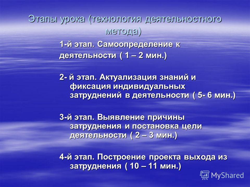 Этапы урока (технология деятельностного метода) Этапы урока (технология деятельностного метода) 1-й этап. Самоопределение к деятельности ( 1 – 2 мин.) 2- й этап. Актуализация знаний и фиксация индивидуальных затруднений в деятельности ( 5- 6 мин.) 3-