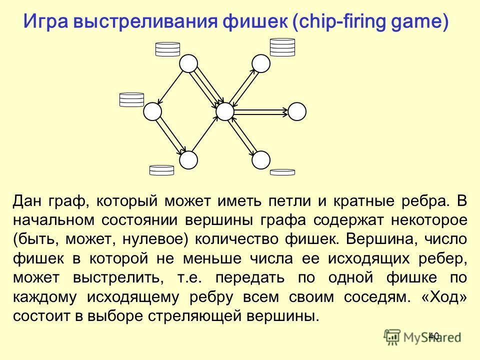 40 Игра выстреливания фишек (chip-firing game) Дан граф, который может иметь петли и кратные ребра. В начальном состоянии вершины графа содержат некоторое (быть, может, нулевое) количество фишек. Вершина, число фишек в которой не меньше числа ее исхо