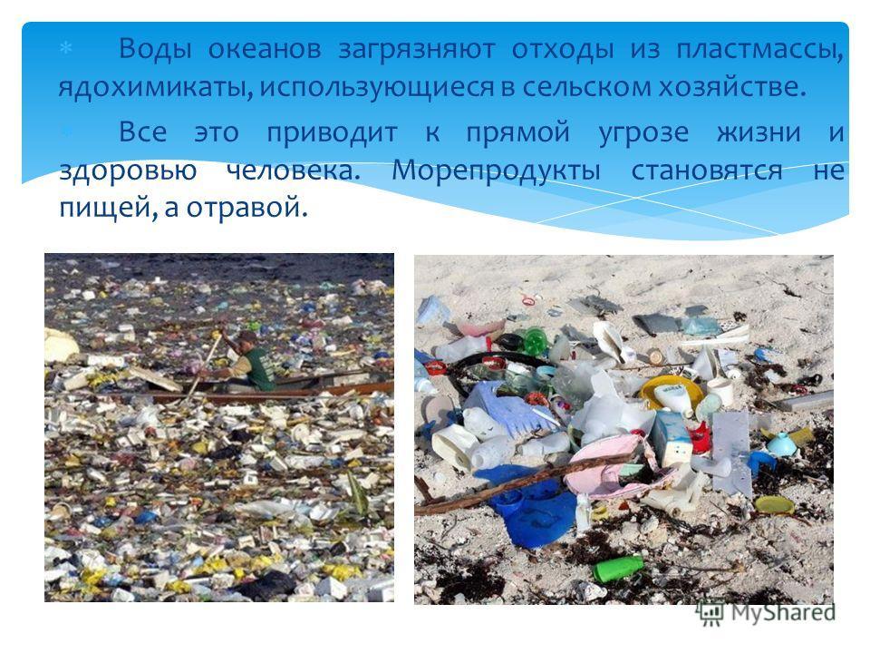 Воды океанов загрязняют отходы из пластмассы, ядохимикаты, использующиеся в сельском хозяйстве. Все это приводит к прямой угрозе жизни и здоровью человека. Морепродукты становятся не пищей, а отравой.