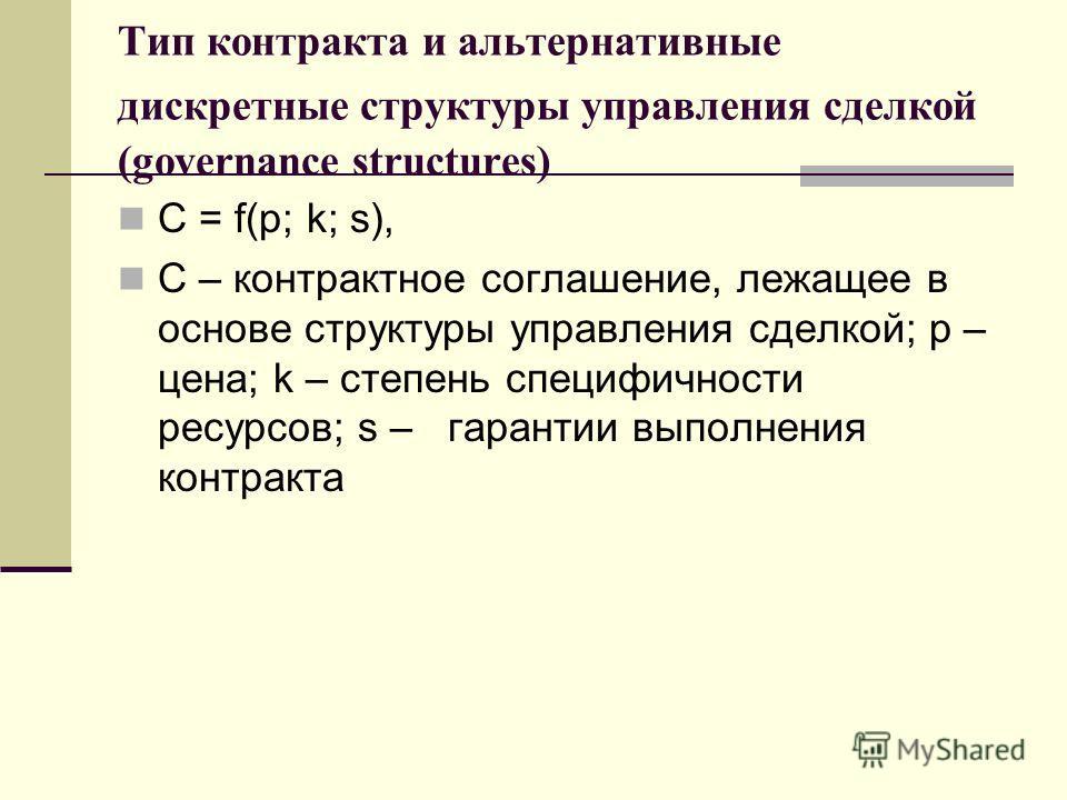 Тип контракта и альтернативные дискретные структуры управления сделкой (governance structures) C = f(p; k; s), C – контрактное соглашение, лежащее в основе структуры управления сделкой; p – цена; k – степень специфичности ресурсов; s – гарантии выпол