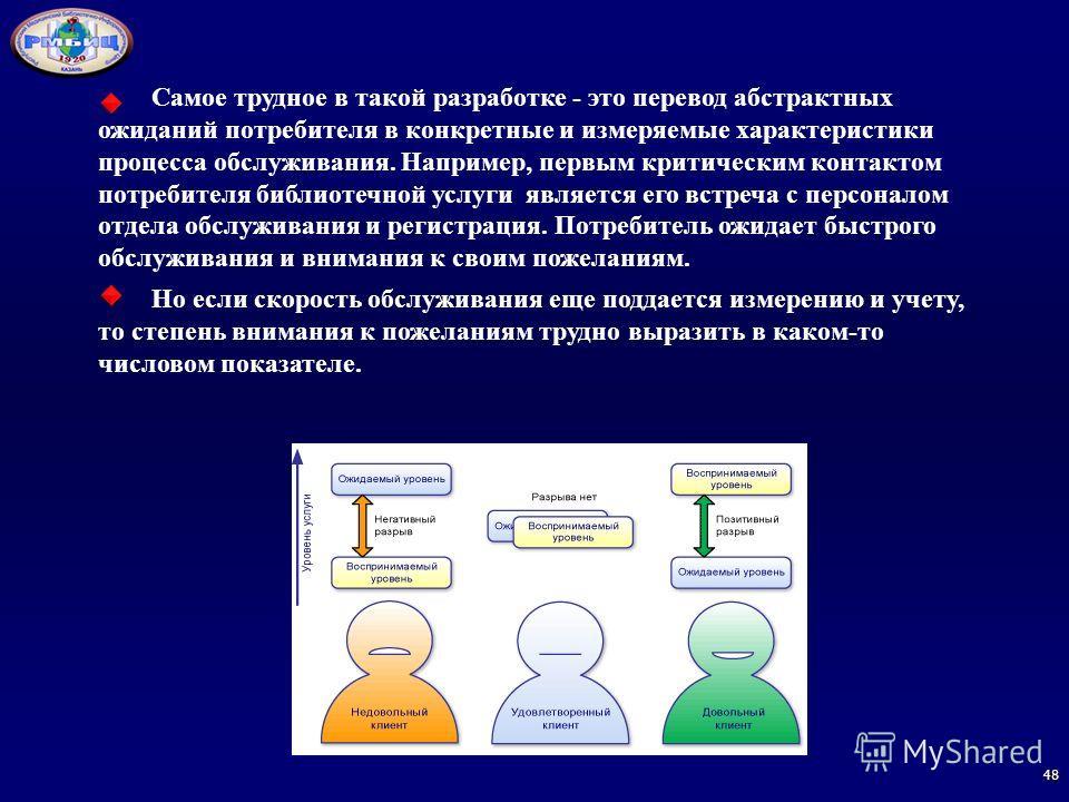 Самое трудное в такой разработке - это перевод абстрактных ожиданий потребителя в конкретные и измеряемые характеристики процесса обслуживания. Например, первым критическим контактом потребителя библиотечной услуги является его встреча с персоналом о