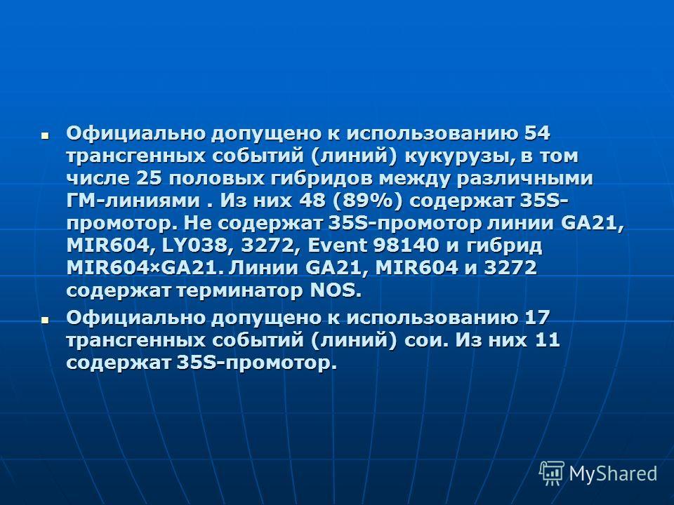 Официально допущено к использованию 54 трансгенных событий (линий) кукурузы, в том числе 25 половых гибридов между различными ГМ-линиями. Из них 48 (89%) содержат 35S- промотор. Не содержат 35S-промотор линии GA21, MIR604, LY038, 3272, Event 98140 и