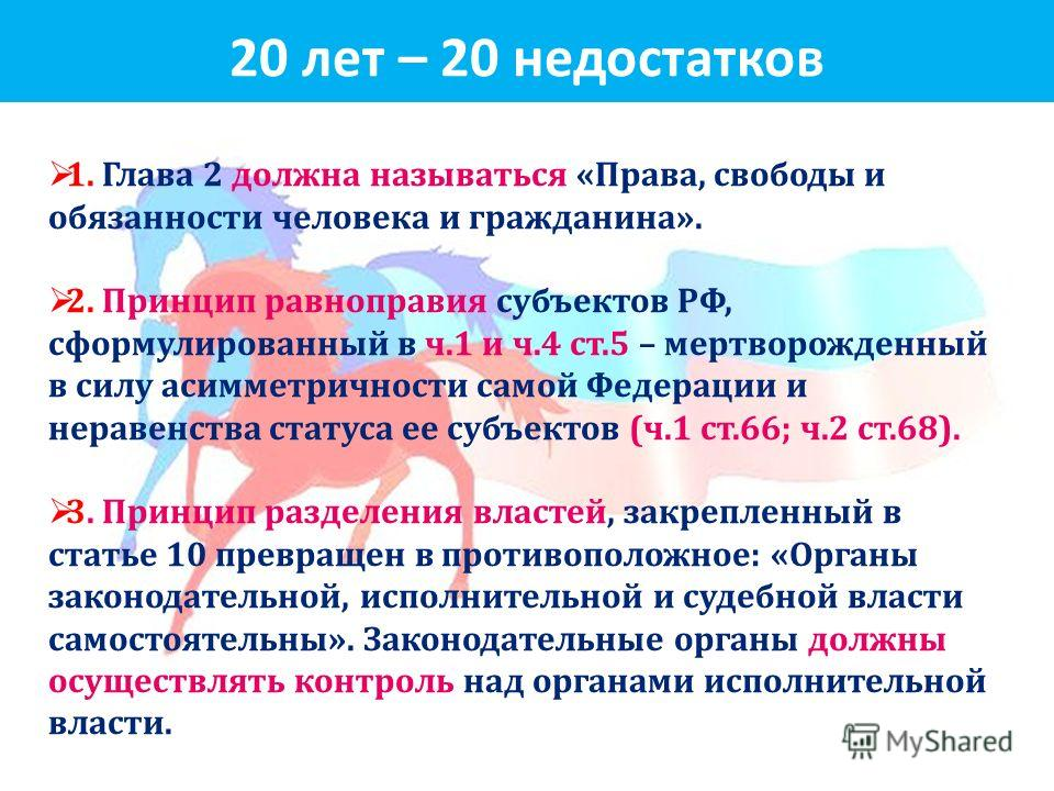 20 лет – 20 недостатков 1. Глава 2 должна называться « Права, свободы и обязанности человека и гражданина ». 2. Принцип равноправия субъектов РФ, сформулированный в ч.1 и ч.4 ст.5 – мертворожденный в силу асимметричности самой Федерации и неравенства
