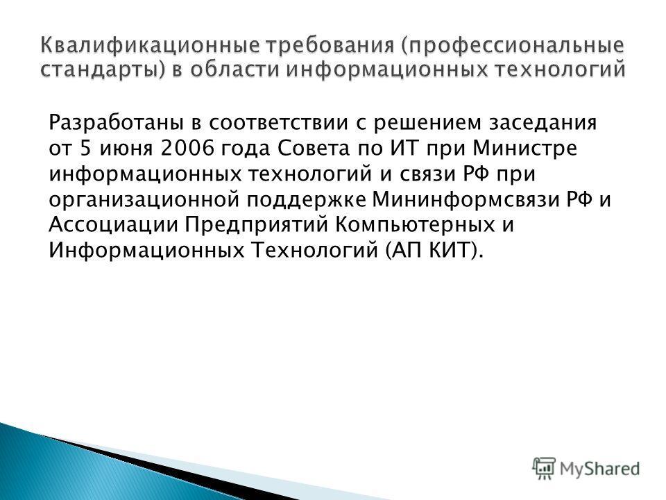 Разработаны в соответствии с решением заседания от 5 июня 2006 года Совета по ИТ при Министре информационных технологий и связи РФ при организационной поддержке Мининформсвязи РФ и Ассоциации Предприятий Компьютерных и Информационных Технологий (АП К