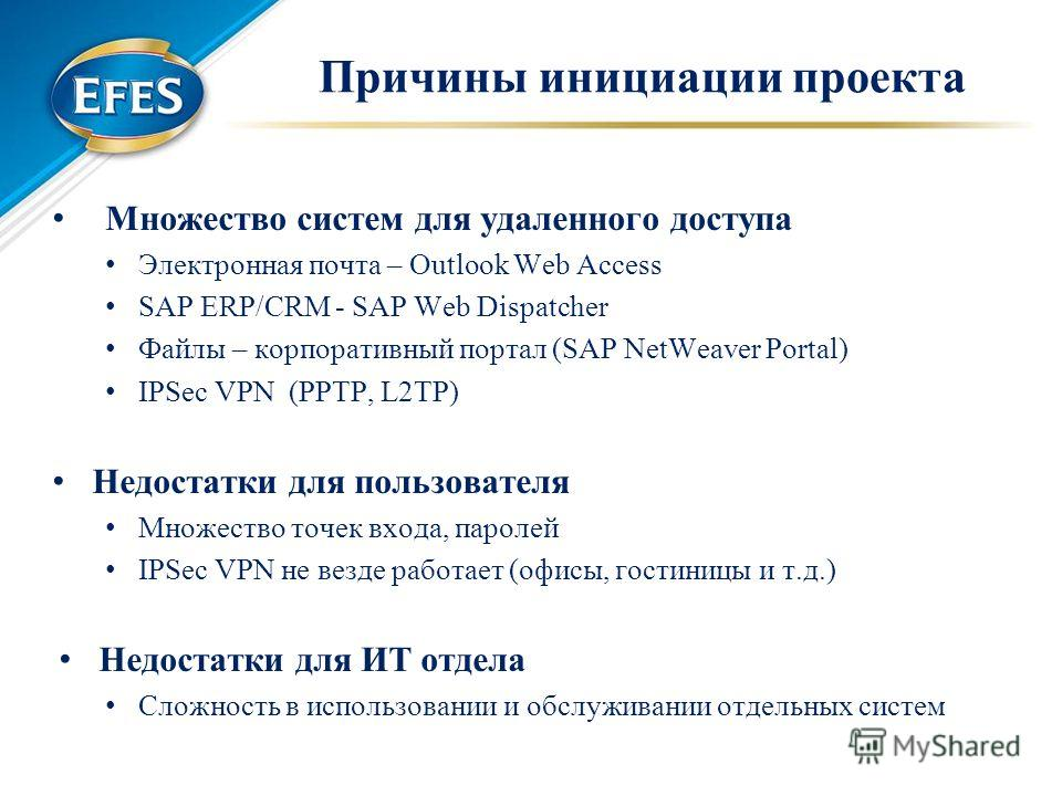 Причины инициации проекта Множество систем для удаленного доступа Электронная почта – Outlook Web Access SAP ERP/CRM - SAP Web Dispatcher Файлы – корпоративный портал (SAP NetWeaver Portal) IPSec VPN (PPTP, L2TP) Недостатки для пользователя Множество